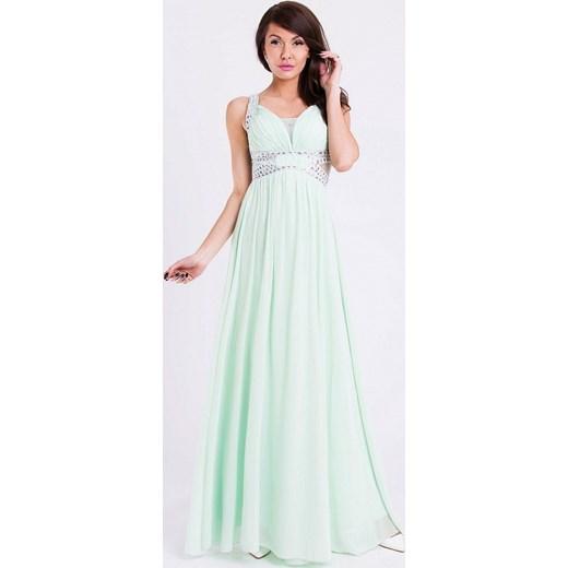 W Ultra Długa sukienka z kryształkami - pistacja hege mietowy lato w Domodi RK09