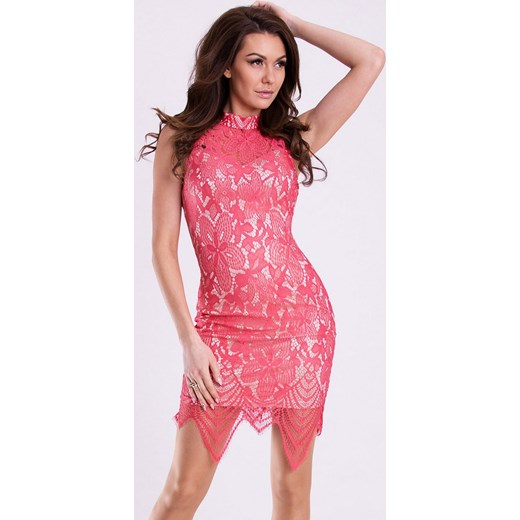 c3f67c9e8b Koronkowa sukienka z wycięciem na plecach - malinowa hege rozowy koronka ...