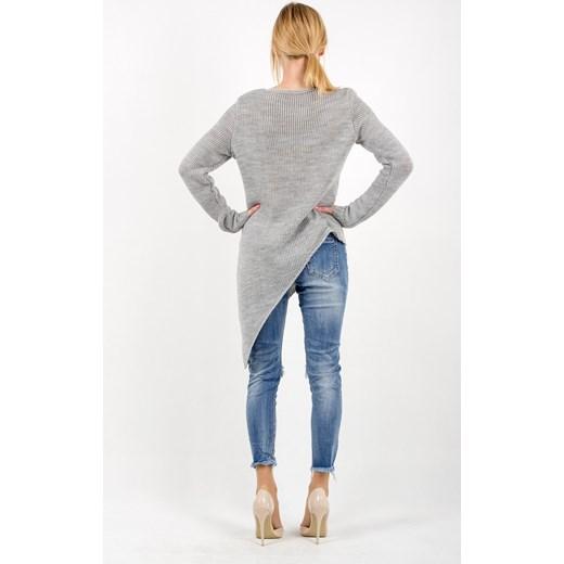 358a21cbf7d96e ... Sweter ASYM lovelook szary Długie swetry damskie ...