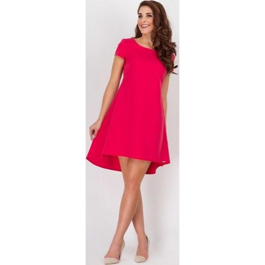 841181a335 Awama Trapezowa asymetryczna sukienka OVERSIZE z ozdobnym tyłem A 88  czerwona arkanymody rozowy asymetryczne