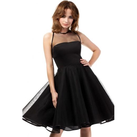 320215e9e2 MOE Wieczorowa rozkloszowana sukienka midi z tiulowym karczkiem MOE148  czarna arkanymody czarny balowe