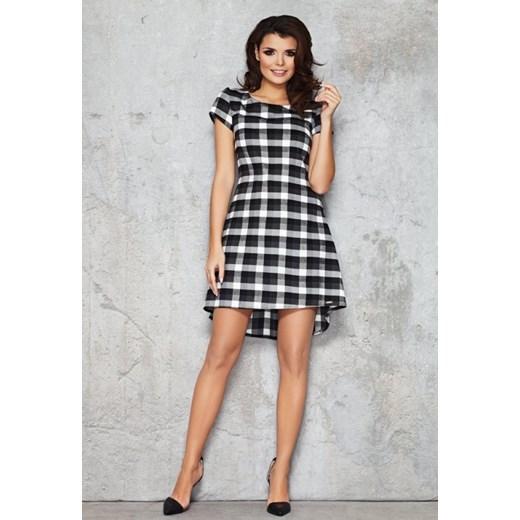 e693587daf INFINITE-YOU Asymetryczna elegancka sukienka w kratkę M034 biało czarna  duża kratka arkanymody szary