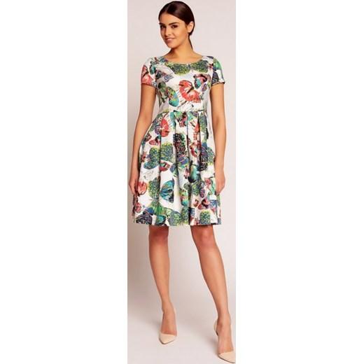 4a178d6ba2 Karen Styl Rozkloszowana elegancka midi sukienka w motyle H43 biała  arkanymody bezowy dopasowane