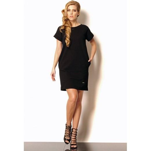 0443047b0b Lemoniade Bawełniana sukienka tuba z kieszeniami Lili czarna arkanymody  czarny bawełna