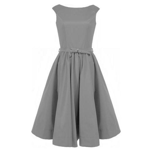 MONA 160 Wizytowa rozkloszowana midi sukienka z paskiem szara arkanymody szary balowe