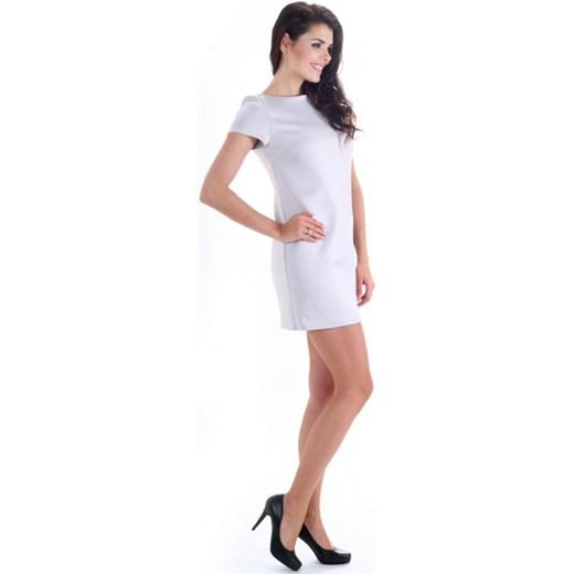 ba5c4361b2 SIMMI Elegancka trapezowa mini sukienka tunika z łezką S017 szara  arkanymody rozowy casual
