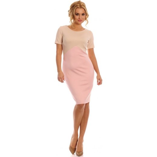 eace286bb Lemoniade Wizytowa elegancka sukienka dwa kolory Britanny beżowy/pudrowy róż  arkanymody rozowy dopasowane