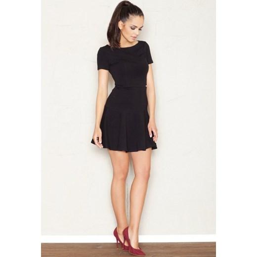 ed5856944f FIGL Rozkloszowana sukienka z krótkimi rękawami M363 czarna arkanymody  czarny bawełna