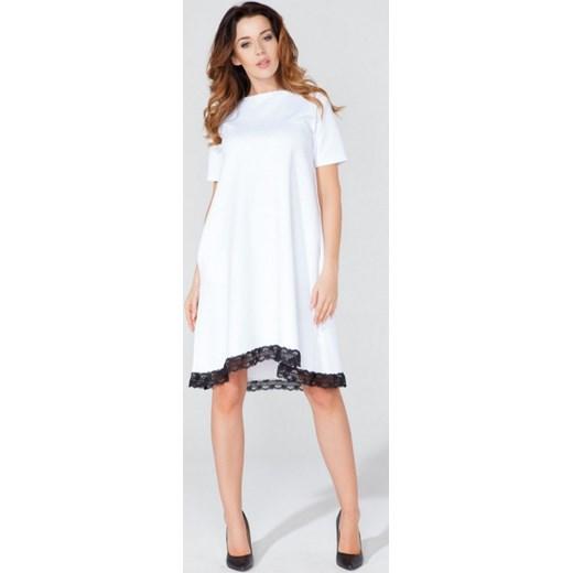 6868793d3f Tessita Asymetryczna trapezowa sukienka z koronką T107 biała arkanymody  bialy asymetryczne