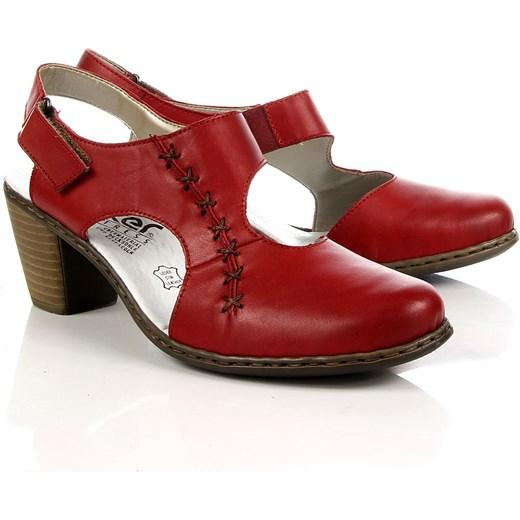 02432475 RIEKER 40950-33 skórzane czerwone sandały damskie komfortowe czerwony  ButyRaj.pl w Domodi
