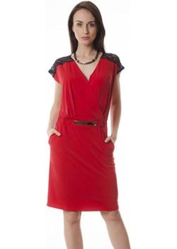 Suknia Pamela czerwona dzianina z koronką Semper czerwony  - kod rabatowy