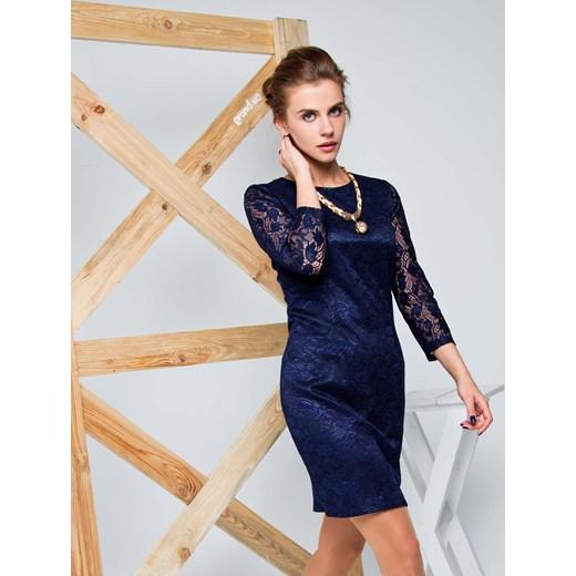 5d14b7b9fd ... Sukienka z gipiury z satynową podszewką niebieski the-cover szary mini  ...
