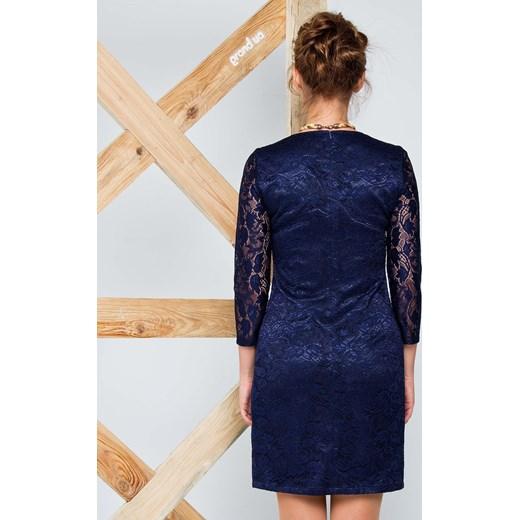 b03e92a5f0 ... Sukienka z gipiury z satynową podszewką niebieski the-cover granatowy  na sylwestra