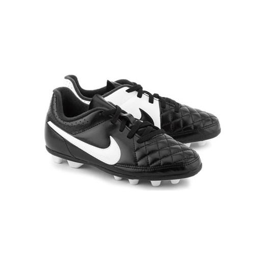 6093cc322 Nike Buty do piłki nożnej Dziecko Jr Tiempo Rio II - Czarne Ekoskórzane  Sportowe Dziecięce -