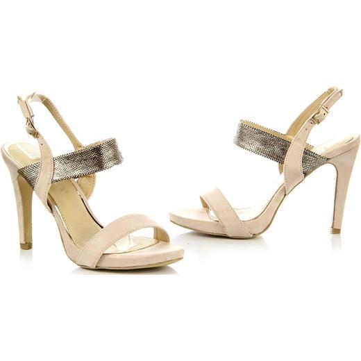 632fdfcffc517 ... VINCEZA beżowe sandały damskie szpilki z motywem skóry węża bezowy  Vinceza 40 ButyRaj.pl ...