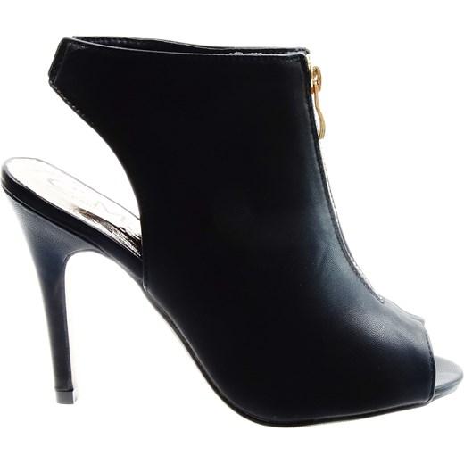 f68c3a2958222 Botki damskie na szpilce OPEN TOE C'M Paris czarny Family Shoes w Domodi