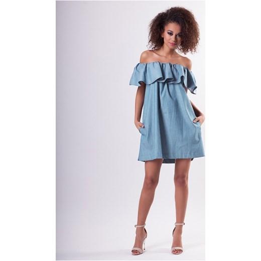d6ec9ecc6d Jeansowa Sukienka Z Falbaną Mosquito Niebieski Mosquitopl W Domodi