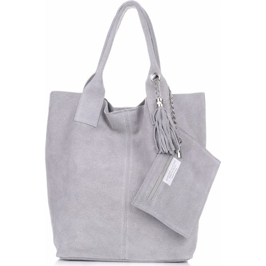 56958013f3b8f ... Torebka skórzana Shopper bag zamsz naturalny Jasno Szara (kolory)  Genuine Leather PaniTorbalska ...