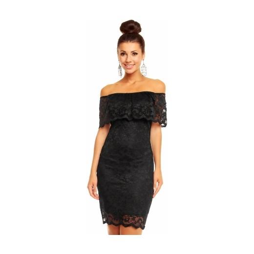 6d43a2b8ada2d3 Czarna koronkowa sukienka odkryte ramiona Divine Wear Sklep w Domodi