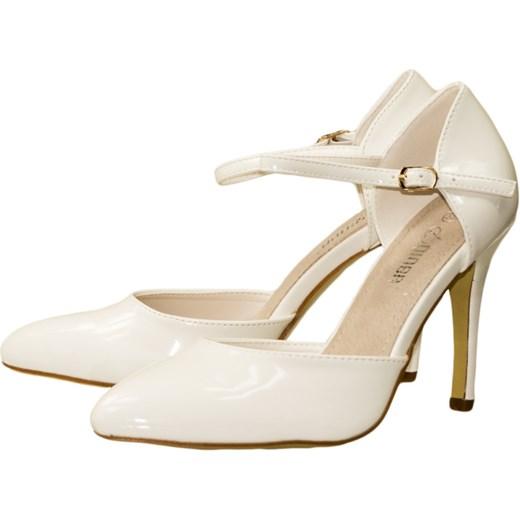 cf0ffa5a CZÓŁENKA DAMSKIE SZPILKI LAKIERKI Z PASKIEM białe - biały bezowy 37  G2G-obuwie