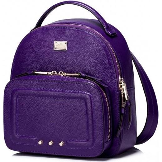 5c4a8762b6126 Subtelny damski plecak z ćwiekami Purpurowy etorba-pl granatowy Plecaki  damskie w Domodi