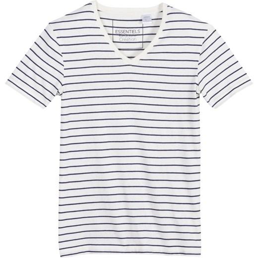 0d5869e013ab9 T-shirt w paski z dekoltem kształcie litery V