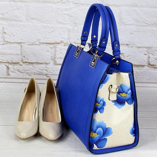 SCHILO JOLIE TE1530 kobaltowa torebka damska ze skóry ekologicznej kuferek w kwiaty niebieski