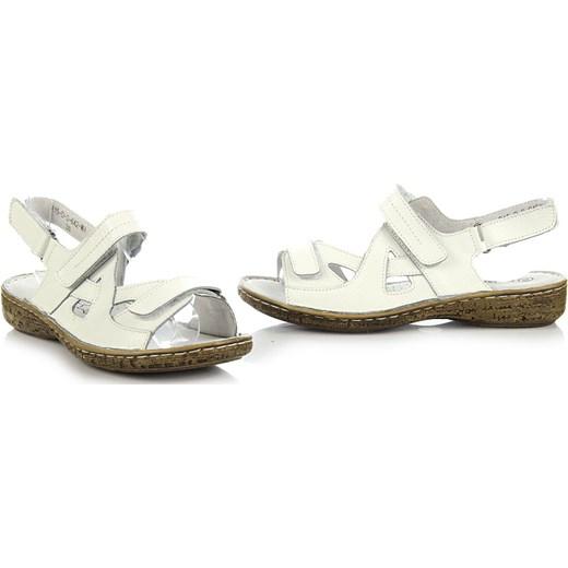 WISHOT skórzane białe sandały damskie komfortowe na rzepy