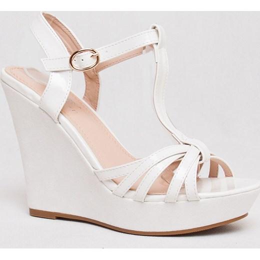7ea30720c4a68 Białe sandały na koturnie /A5-3 AB80 S234/ szary 37 pantofelek24.pl ...