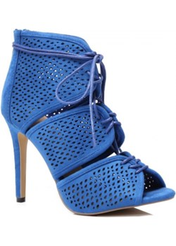 Ażurowe wiązane sandałki na szpilce niebieskie Vices granatowy Family Shoes - kod rabatowy