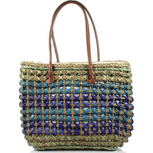 a444de143416c TE1558 niebieska torba plażowa pleciona na ramię koszyk bialy Skorzana.com