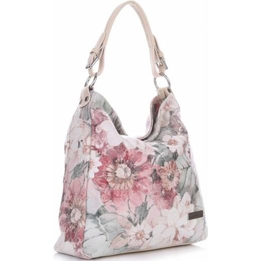 8fd3d11ab2755 ... VITTORIA GOTTI Made in Italy Modna Torebka Skórzana w Kwiaty  Multikolorowa Beżowa (kolory) bialy