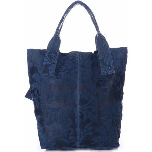 a639b982b37dd ... VITTORIA GOTTI Made in Italy Torebka Skórzana Shopperbag w Tłoczone  Wzory Niebieska (kolory) granatowy ...
