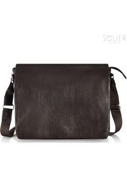 Stylowa torba męska na ramię casual SOLIER S11 brązowa szary Solier Skorzana.com - kod rabatowy