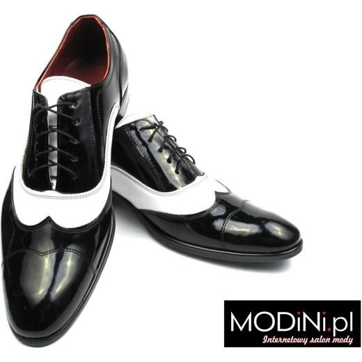 9f778c1e8a4e5 Czarno białe lakierki męskie - spektatory obuwie Al Capone czarny Faber - Obuwie  Męskie 46 Modini ...
