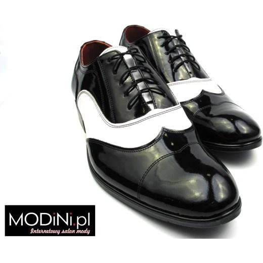 29adf0be9e3a4 ... Czarno białe lakierki męskie - spektatory obuwie Al Capone szary Faber  - Obuwie Męskie 44 Modini ...