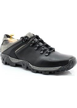 KENT 116 CZARNO-SZARE - Trekkingowe buty męskie 100% skórzane szary Kent Tymoteo.pl - sklep obuwniczy - kod rabatowy