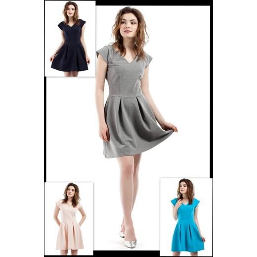 012934bd8e MOE Rozkloszowana sukienka z kontrafałdami dekolt w szpic MOE210 KOLORY Moe  bialy ArkanyMody ...