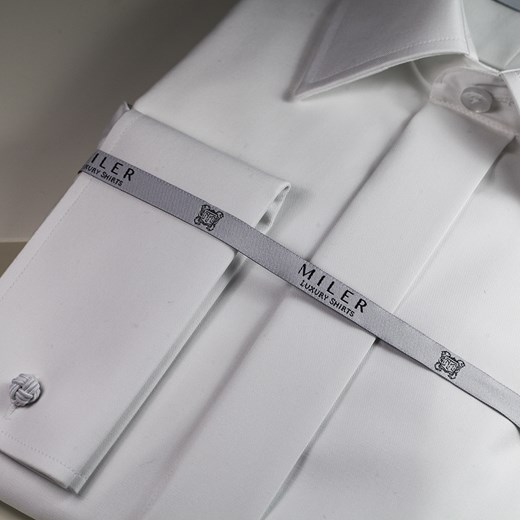 6368d1f8a283ba ... Koszula do muchy - biała szary Miler Luxury Shirts 38 Super Slim Miler  Menswear ...