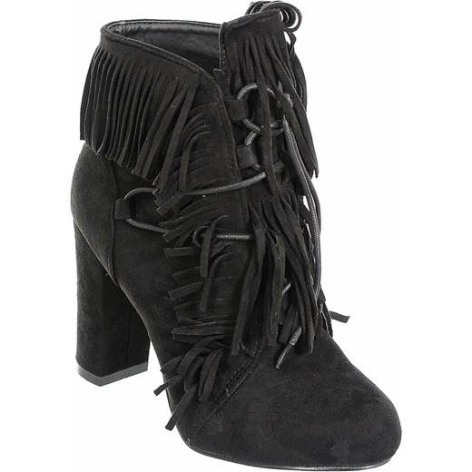 db0cf1468f128 ZAMSZOWE BOTKI FRĘDZLE SŁUPEK czarny Family Shoes w Domodi