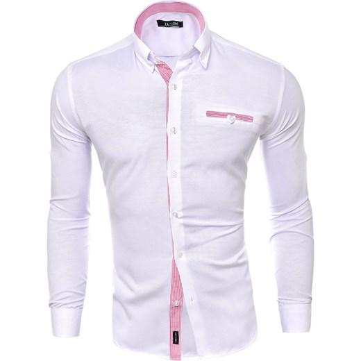 6383162ed14243 ... Koszule z długim rękawem męskie; KOSZULA (RL09) - BIAŁY risardi  fioletowy długi rękaw ...