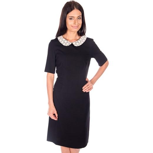 1ed6c45b48ecc4 Czarna sukienka z kołnierzykiem czarny Bialcon bialcon.pl w Domodi