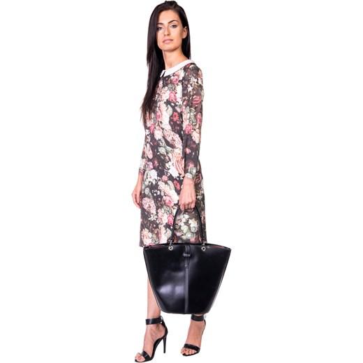 02435f676e Sukienka z kołnierzykiem bialcon-pl bezowy kwiaty w Domodi