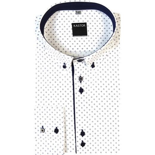9c9d532f0b22f9 Biała koszula męska Kastor w granatowe romby - button-down K9 bialy Modini  w Domodi
