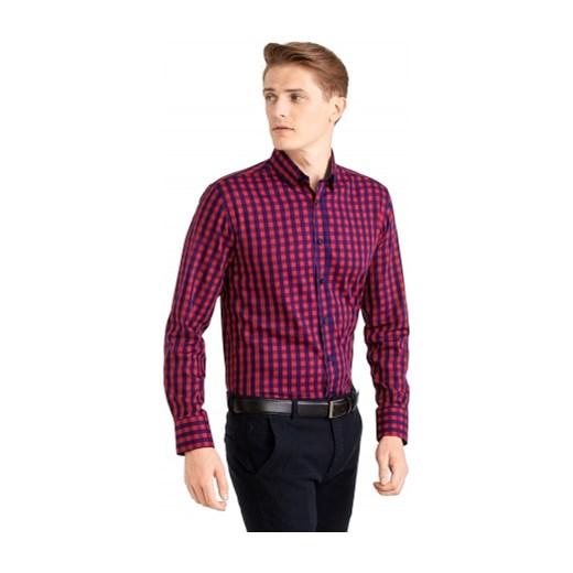 Koszule męskie Czerwona koszula męska WÓLCZANKA