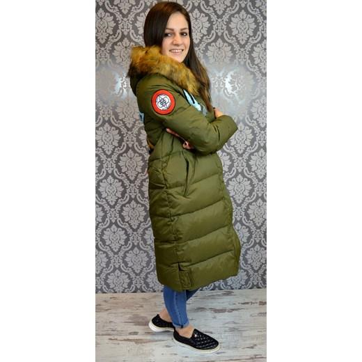805524b4c6c4 Płaszcz puchowy khaki zielony SOLDO w Domodi