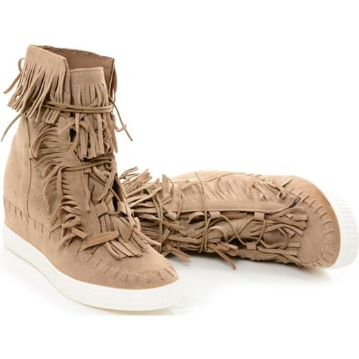 4453c52302f1 PL  Beżowe Sneakersy Botki na Koturnie Frędzle Zamsz Casadei 40 BUTOSKLEP.