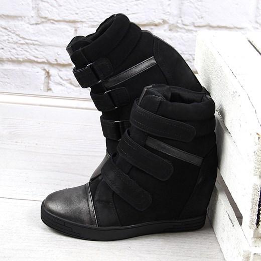 7c4d1eff Sneakersy damskie koturny czarne na rzepy Sergio Leone ButyRaj.pl w Domodi