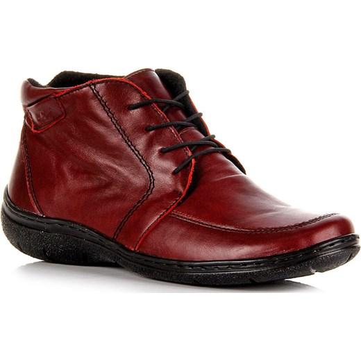 fea01ba091435 ŁUKBUT 675 czerwone skórzane botki damskie płaskie komfortowe lekkie  butyraj-pl brazowy cholewki ...