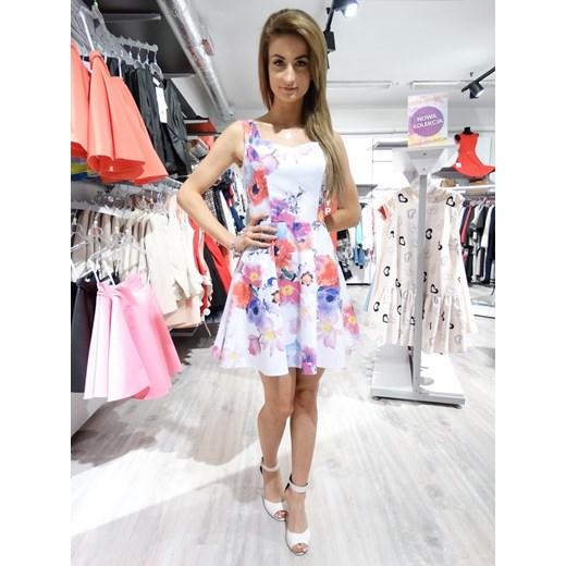 sukienka DUET KWIATY biała fioletowy EllaButik.pl